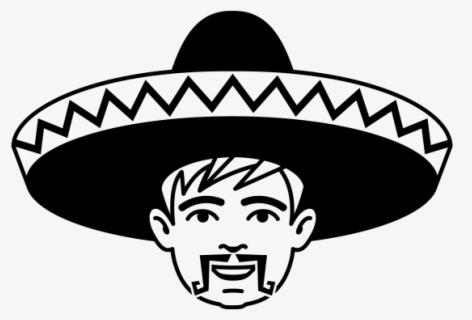 Mask, Mexican, Sombrero, Mustache, Grin - Mexican Calaveras Black And White  Clipart (#1412808) - PinClipart