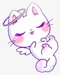 182 1828550 cat cute kawaii angel white purple pink sweet