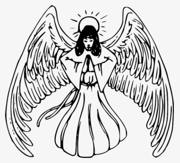 Free Baby Angel Black And White Clip Art With No Background Clipartkey