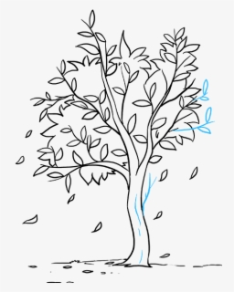 How To Draw Fall Tree Easy Drawing Of Autumn Season Free Transparent Clipart Clipartkey
