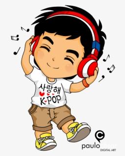 53 535604 kpop chibi by cesarnr kid listening to music