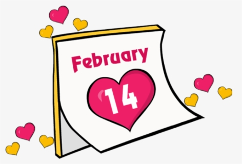 Clip Art Valentines Day Calender Date Feb February - February 14 Valentine's Day Clip Art, Transparent Clipart