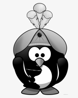Oriental Penguin Animal Free Black White Clipart Images - Penguin Pirate, Transparent Clipart