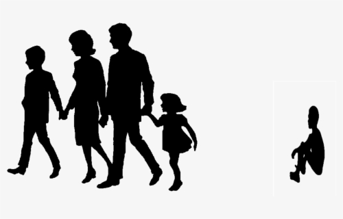 Big Image - Silhouette Family Of 4 Black Png Clipart (#511906) - PinClipart